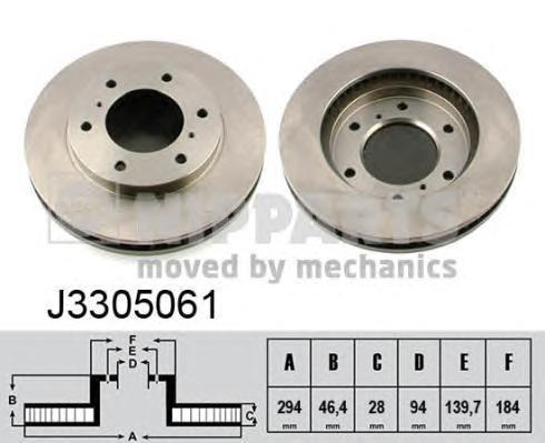 J3305061 Диск тормозной MITSUBISHI L200 05- передний вент.D=293мм.