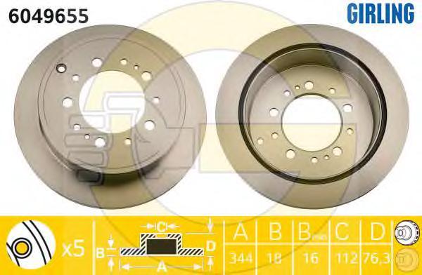 6049655 Диск тормозной TOYOTA LAND CRUISER J200 4.5D/4.7 07-/LEXUS LX570 08- задний