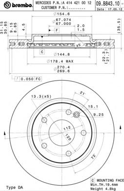 09B84310 Диск тормозной передн , MERCEDES-BENZ: VANEO 1.4/1.6/1.7 CDI/1.9 02-05