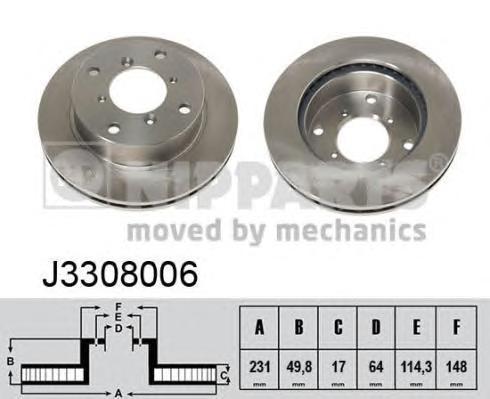 J3308006 Диск тормозной SUZUKI SWIFT 1.0-1.3 89-01 передний вент.D=231мм.