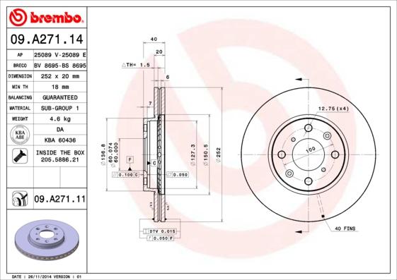 09A27114 Диск тормозной OPEL AGILA 1.0-1.3 07-/SUZUKI SWIFT 1.3-1.5 05- передний вент.