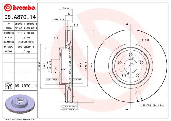 09A87014 Диск тормозной SUBARU LEGACY 2.0-3.0 03-/OUTBACK 3.6 09- передний вент.D=316мм.