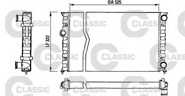 230505 Радиатор системы охлаждения VW: GOLF III (1H1) 1.8/1.8 Syncro (1HX1) 91 - 97 , GOLF III Cabriolet (1E7) 1.8 93 - 98 , GOL