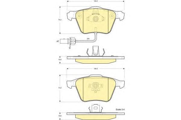 6115542 Колодки тормозные AUDI A4 2.0-3.2 0-/A6 2.7-3.2 01- передние