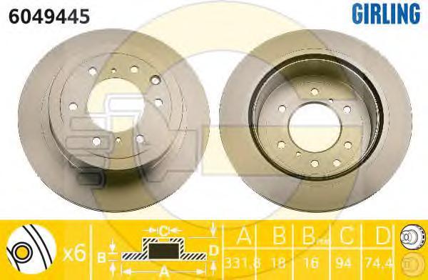 6049445 Диск тормозной MITSUBISHI PAJERO 07- задний вент.D=332мм.