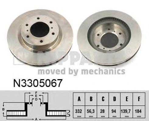 N3305067 Диск тормозной MITSUBISHI PAJERO IV 07- передний вент.D=332мм.