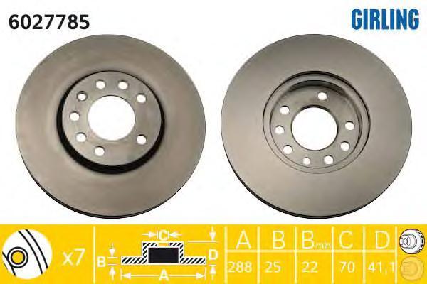 6027785 Диск тормозной OPEL VECTRA 95-03/SAAB 900 93-98/9.3 98-03/9.5 97- передний