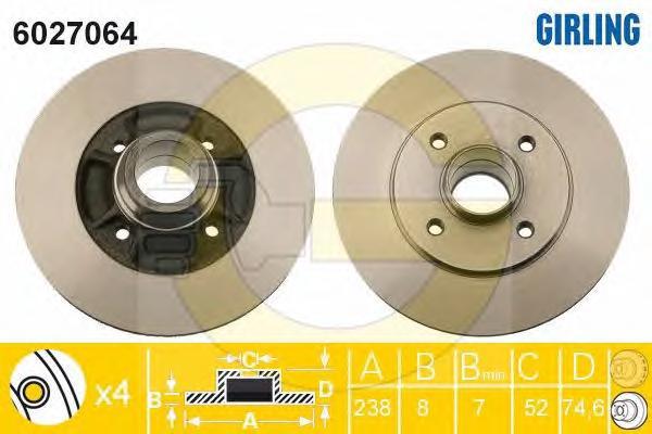 6027064 Диск тормозной RENAULT 19/CLIO 91-98/MEGANE 96-03 зад. без подш.без АБС D=238мм.