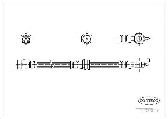 19033016 Шланг торм. Fr 420мм Mazda 625 V 97-02