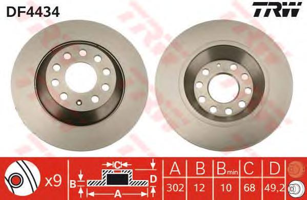 DF4434 Диск тормозной AUDI A6 2.0-4.2 04- задний D=302мм.