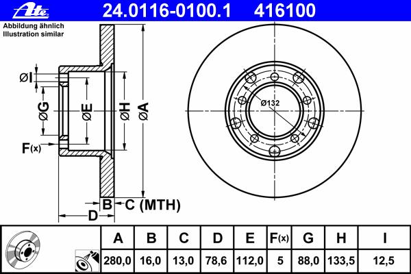 24011601001 Диск тормозной передн, MERCEDES-BENZ: T1 c бортовой платформой 207 D 2.4/208 D 2.3/209 D 2.9/210 2.3/210 D 2.8/210 D