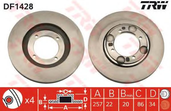 DF1428 Диск тормозной HYUNDAI LANTRA 1.5-2.0 90-00/COUPE 96-02 передний
