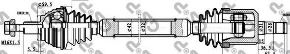 261094 Привод в сборе AUDI A3 II/SKODA/VW GOLF V-VI/PASSAT VI 1.6-2.0 03- прав.