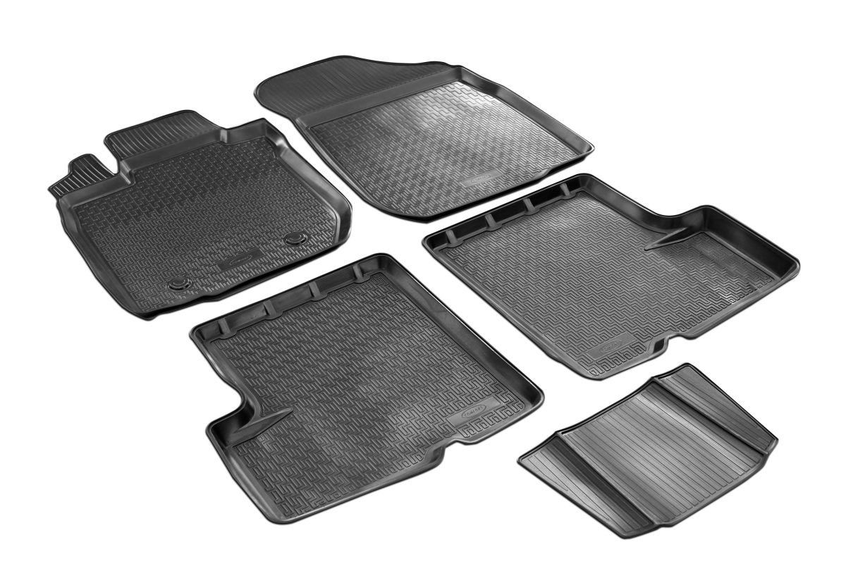 0014702001 Комплект автомобильных ковриков Renault Logan 2014- , полиуретан, низкий борт, 5 предметов, крепеж для передних ковро