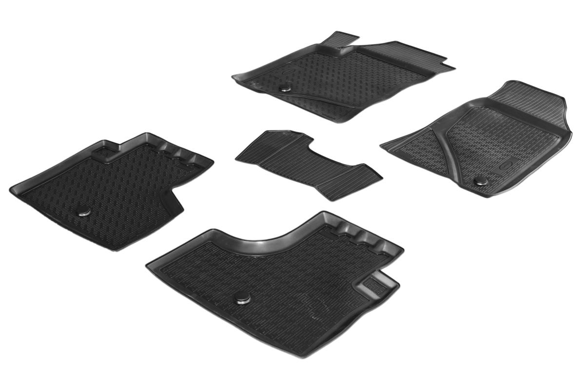 0011004001 Комплект автомобильных ковриков Chevrolet Niva 2009- , полиуретан, низкий борт, 5 предметов, крепеж для передних ковр