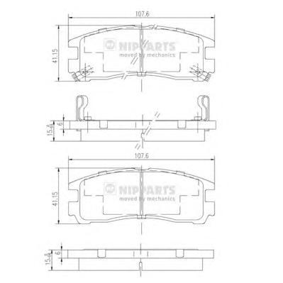 J3615003 Колодки тормозные MITSUBISHI GALANT 92-04/PAJERO PININ 99-/SPACE WAGON 91-99 зад