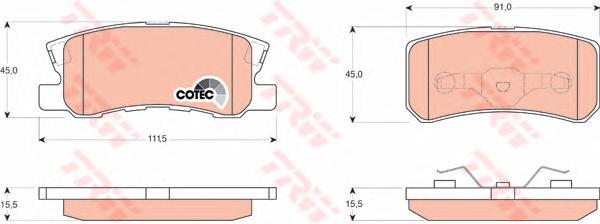 GDB3247 Колодки тормозные PEUGEOT 4007/MITSUBISHI PAJERO III/OUTLANDER 06 задние