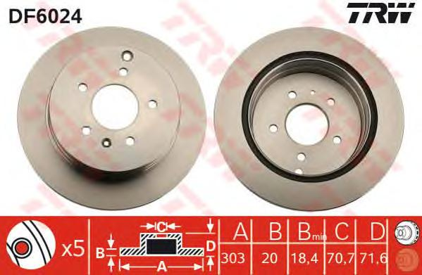 DF6024 Диск тормозной CHEVROLET CAPTIVA/OPEL ANTARA 06- задний вент.D=303мм.