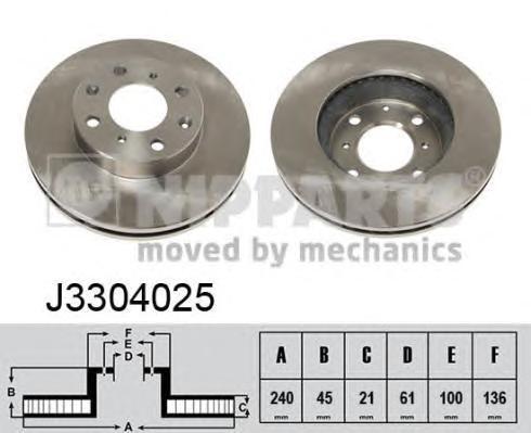 J3304025 Диск тормозной HONDA CIVIC 1.3-1.6 91-01 передний D=240мм.
