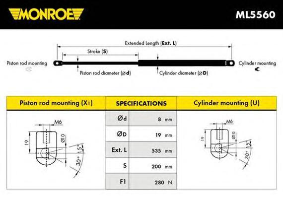 ML5560 Амортизатор капота MERCEDES-BENZ: C-CLASS 00- , C-CLASS Coupe Sport 01- , C-CLASS Sportcoupe 01- , C-CLASS Sportscoupe 01