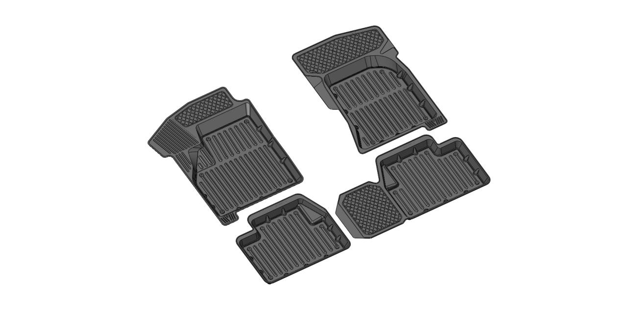 122030011 Комплект автомобильных ковриков Lada Priora , резина, высокий борт, 4 предмета, перемычка заднего ряда, выпуклые места