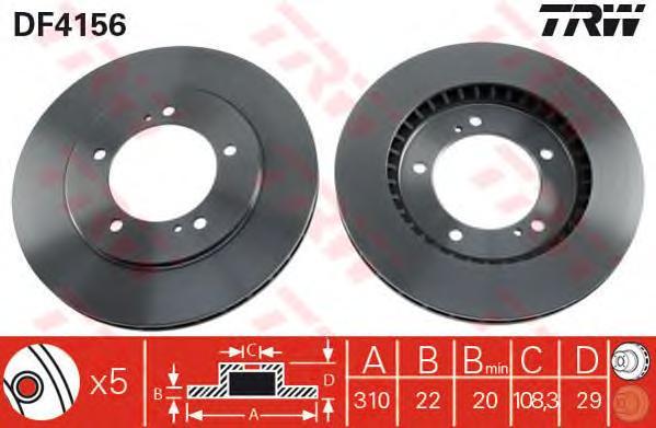 DF4156 Диск тормозной SUZUKI GRAND VITARA 2.0-2.7 98-05 передний