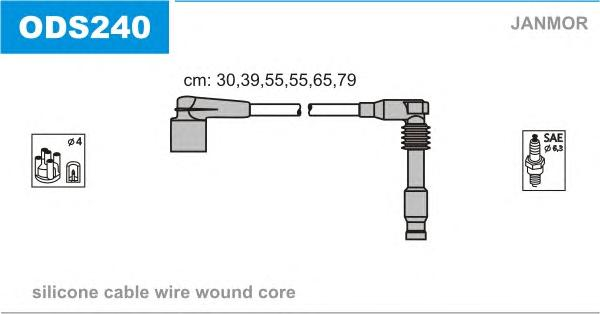 ODS240 Комплект проводов зажигания OPEL: CALIBRA A 90-97, OMEGA B 94-03, SINTRA 96-99, VECTRA A 88-95, VECTRA B 95-02