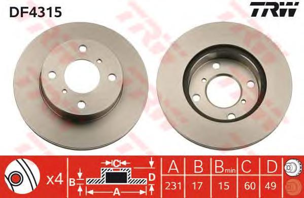DF4315 Диск тормозной SUZUKI WAGON R+ 1.0/1.2 98-00/ALTO 1.1 02- передний