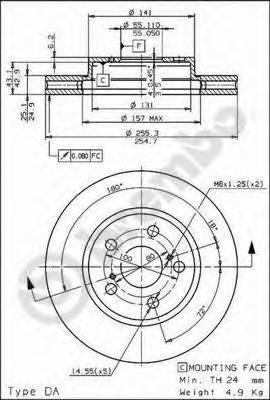 09584410 Диск тормозной TOYOTA CARINA E 1.6-2.0 92-95/CELICA 1.8 93- передний вент.