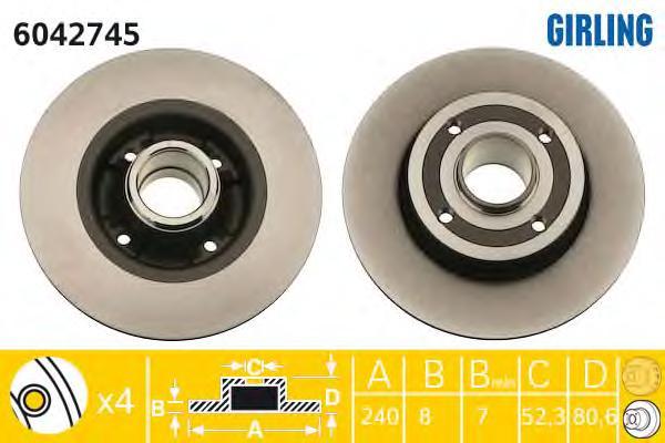 6042745 Диск тормозной RENAULT CLIO III 05-/MEGANE II 02- задний без подшипника