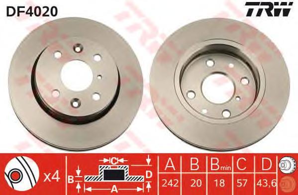 DF4020 Диск тормозной KIA SEPHIA 1.5-1.8 95-/SHUMA 1.5-1.8 96-01 передний вент.