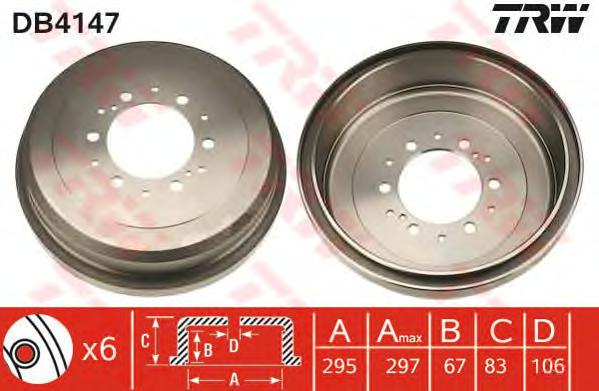DB4147 Барабан тормозной TOYOTA 4RUNNER 2.4-3.4 86-97/HIACE 84-89/HILUX 2.2-2.5 88-