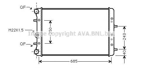 SAA2006 Радиатор системы охлаждения SEAT: CORDOBA (6L2) 1.4 TDI 02 - , IBIZA IV (6L1) 1.2 12V/1.4 TDI/1.6 16V/1.8 T Cupra R/1.8