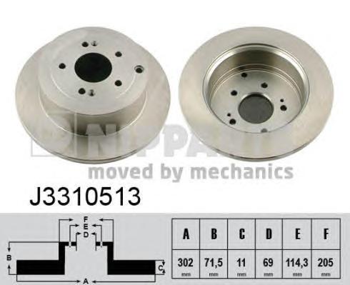 J3310513 Диск тормозной HYUNDAI SANTA FE 06- задний D=302мм.