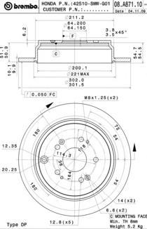 08A87110 Диск тормозной HONDA CR-V 02- задний D=302мм.