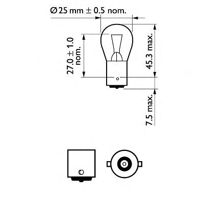 12445CP Лампа Stop P25 12V 18W BA15s