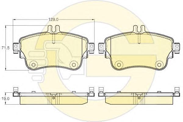 6119331 Колодки тормозные MERCEDES A(W176) 12-/B(W246) 11- передние L=129мм