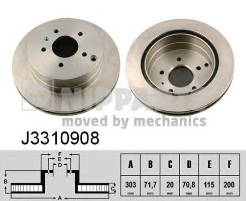 J3310908 Диск тормозной CHEVROLET CAPTIVA/OPEL ANTARA 06- задний вент.D=303мм.