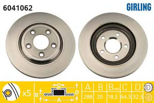6041062 Диск тормозной JAGUAR S-TYPE 99-/XJ 03- задний вент.D=288мм.