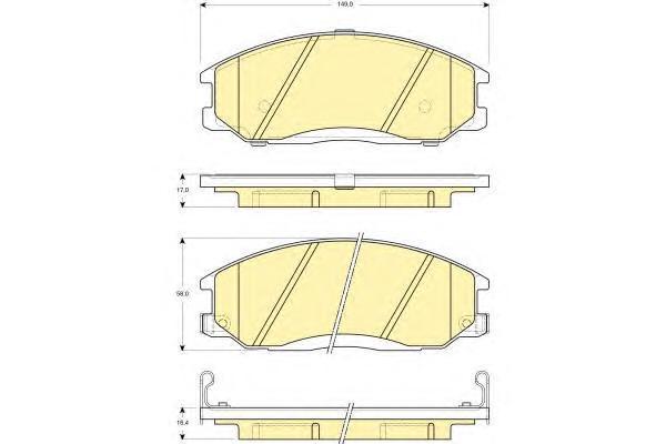 6132579 Колодки тормозные HYUNDAI H-1/SANTA FE/TRAJET/SSANGYONG REXTON 01- передние
