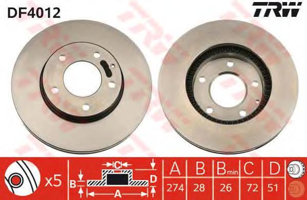 DF4012 Диск тормозной MAZDA MP-V 99-/XEDOX 9 93- передний вент.D=274мм.