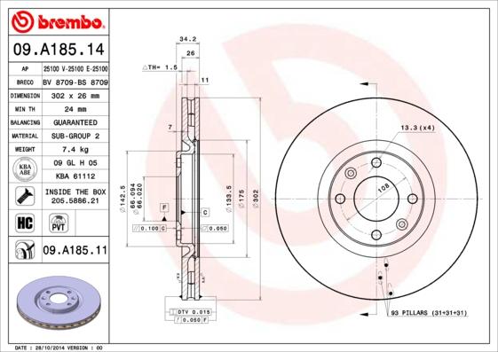 09A18514 Диск тормозной PEUGEOT 308/3008/5008 07- передний вент.D=302мм.