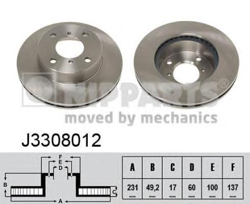 J3308012 Диск тормозной SUZUKI WAGON R+ 1.0/1.2 98-00/ALTO 1.1 02- передний
