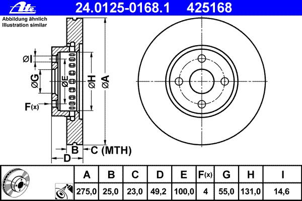 24012501681 Диск тормозной передн, TOYOTA: COROLLA 2.0 D-4D 01-07, COROLLA Verso 1.8 VVT-i/2.0 D-4D 01-04, COROLLA седан 2.0 D-4