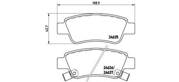 P28046 Колодки тормозные HONDA CR-V III 07- задние