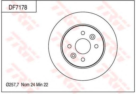 DF7178 Диск тормозной KIA SHUMA 01-04/SPECTRA 00- передний вент.D=258мм.