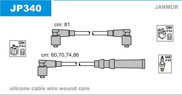 JP340 Комплект проводов зажигания MAZDA: 929 II 81-87, 929 II купе 81-87, B-SERIE 85-99
