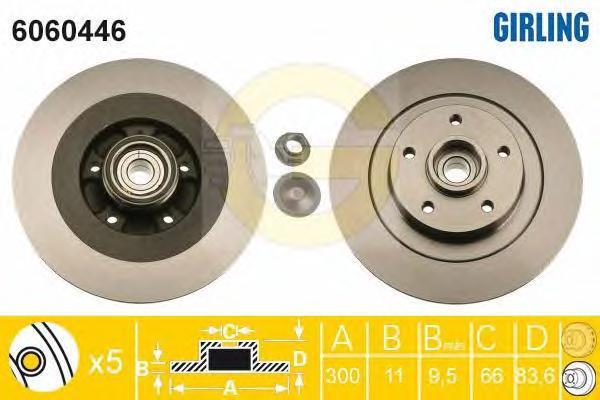 6060446 Диск тормозной RENAULT LAGUNA III 07- задний СБ с подшипником,с АБС