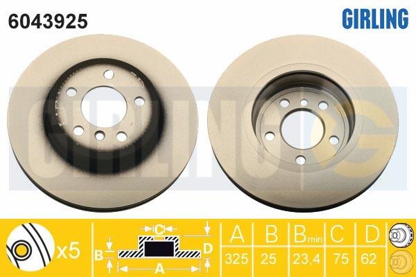 6043925 Диск тормозной BMW X3 E83 2.0-3.0 04- передний вент.