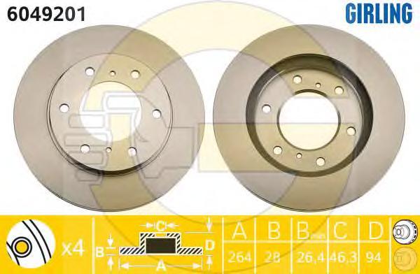 6049201 Диск тормозной MITSUBISHI L200 05- передний вент.D=293мм.